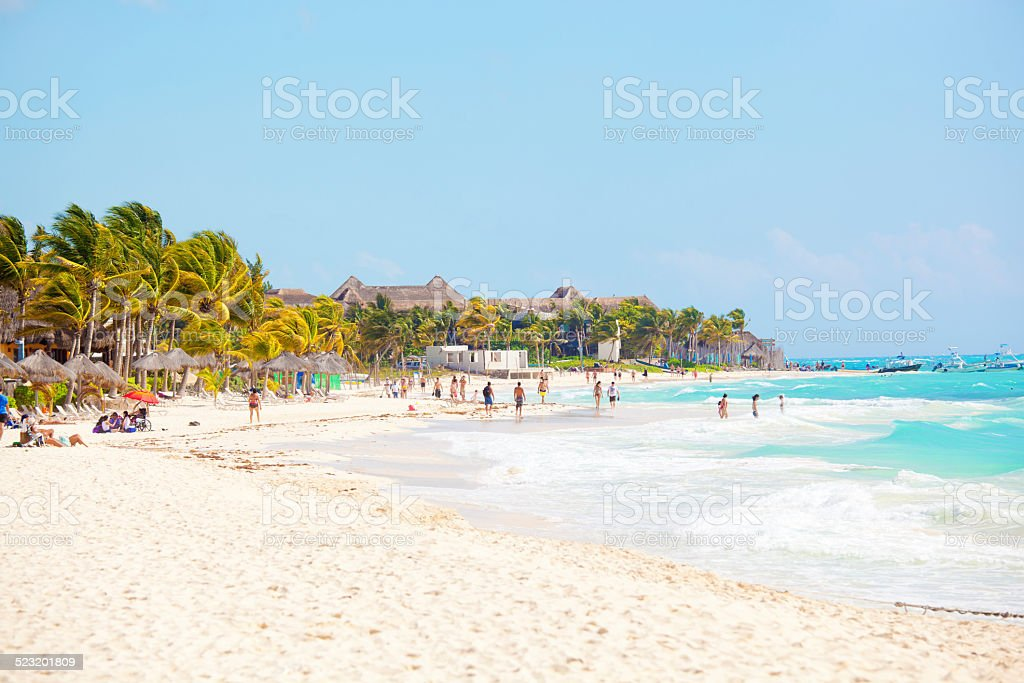 Vacationers on Playa Del Carmen Beach, Riviera Maya, Yucatan, Mexico stock photo