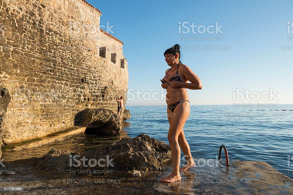 Vacationing in Budva, Montenegro stock photo