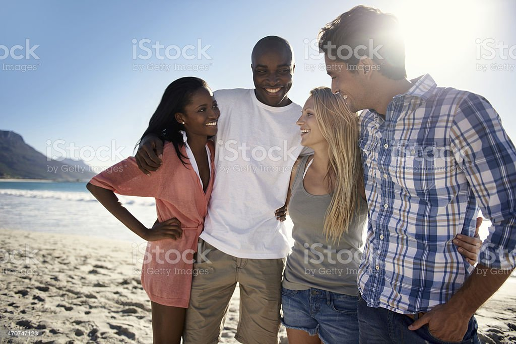 Vacationing with great friends stock photo