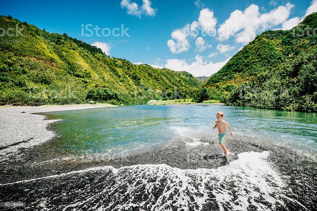 Vacations in Maui with Children stock photo
