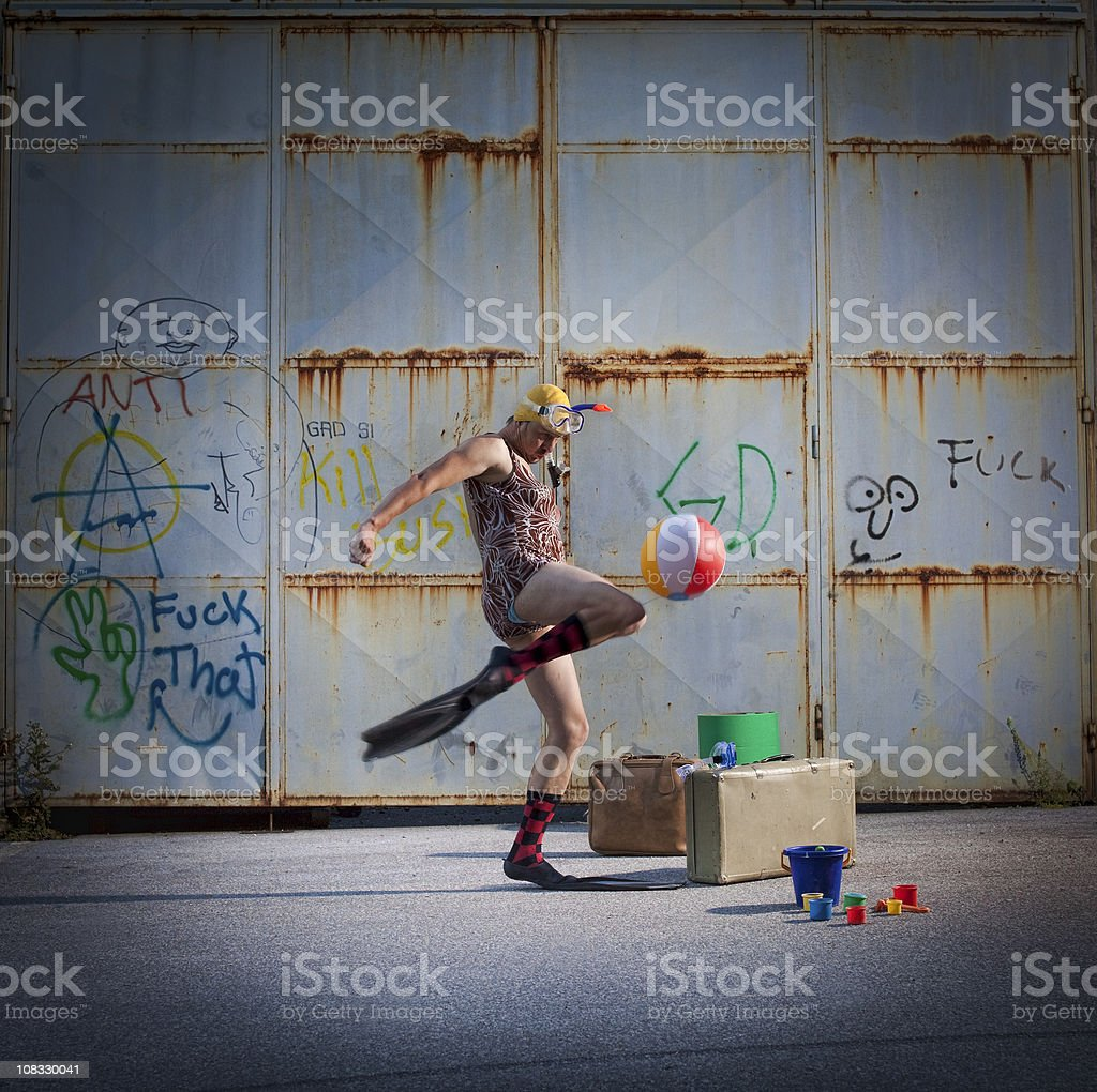 Vacations in the slums stock photo