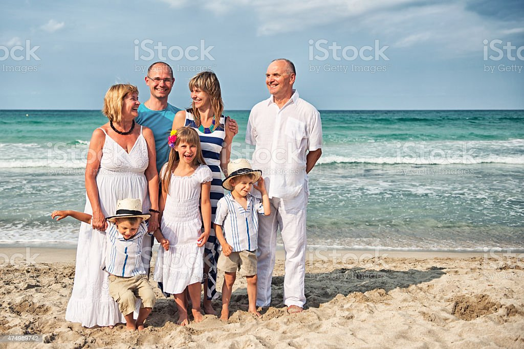 Vacations photo of multi generation family stock photo