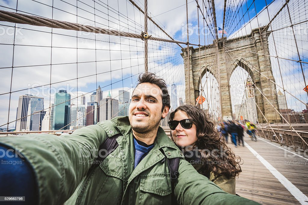 Vacations Selfie in New York stock photo
