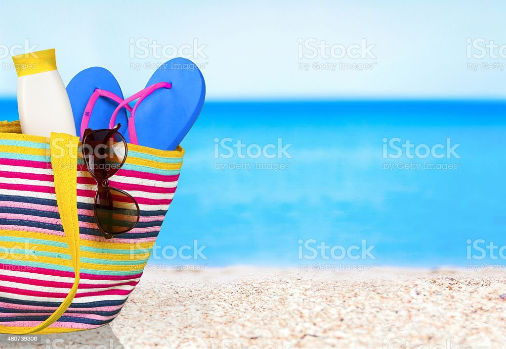 Vacations, Summer, Beach Bag stock photo