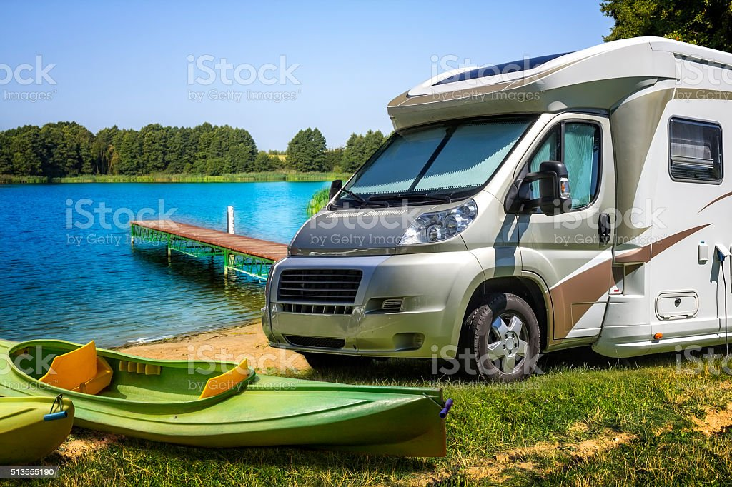 Vacations with motor home stock photo