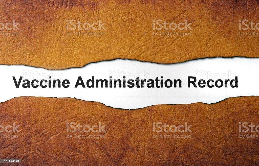 Vaccine administration record stock photo