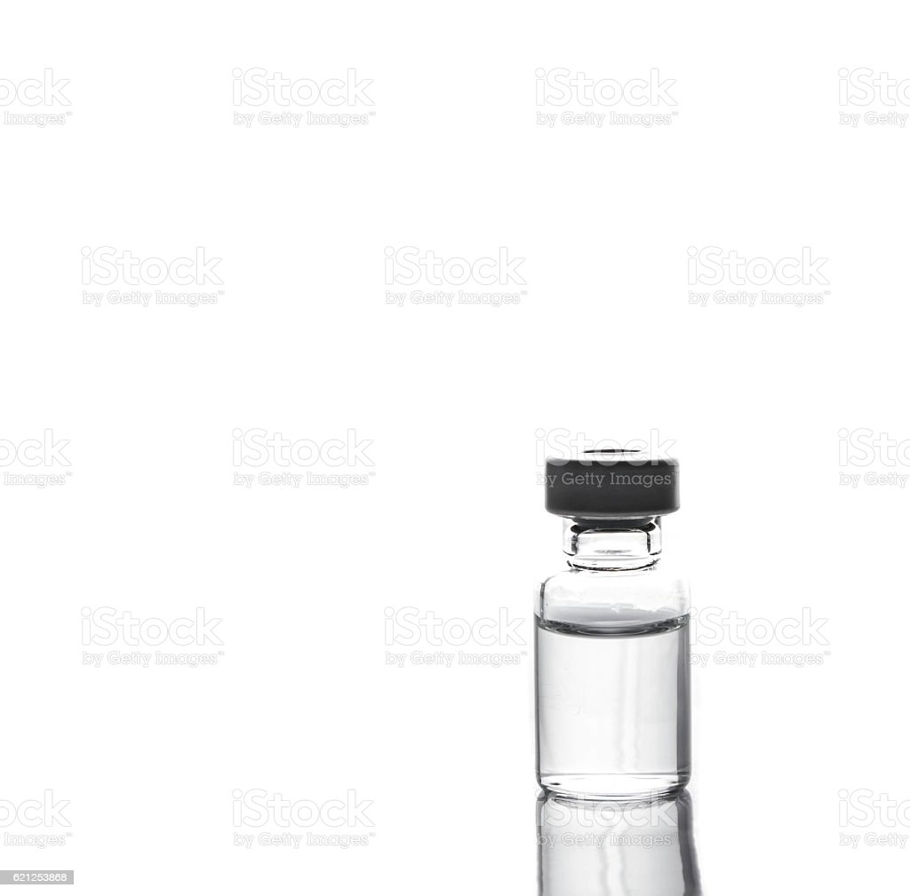 vaccine bottle on whit background stock photo