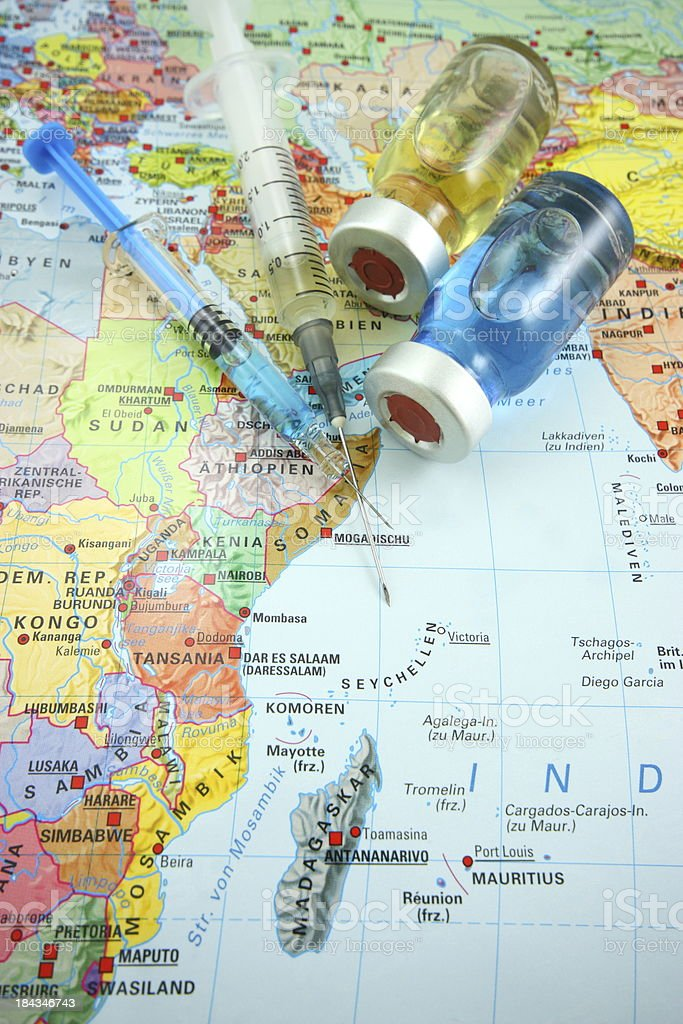 Vaccines and Africa map stock photo