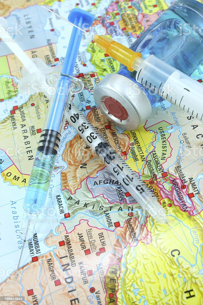 Vaccines and pakistan map stock photo