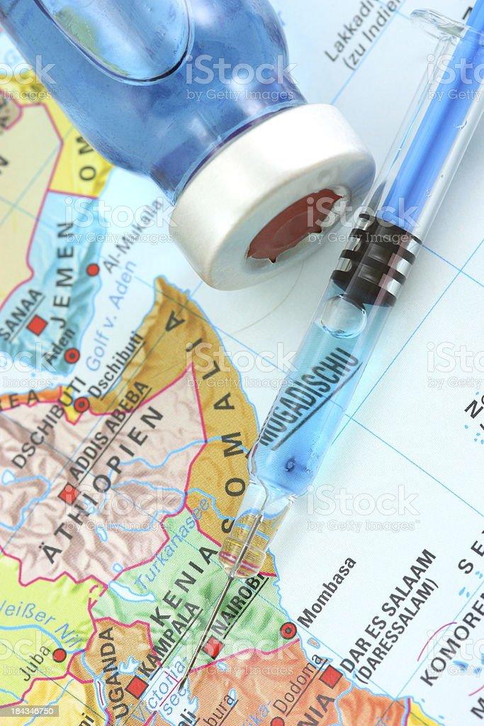 Vaccines and Somalia map stock photo
