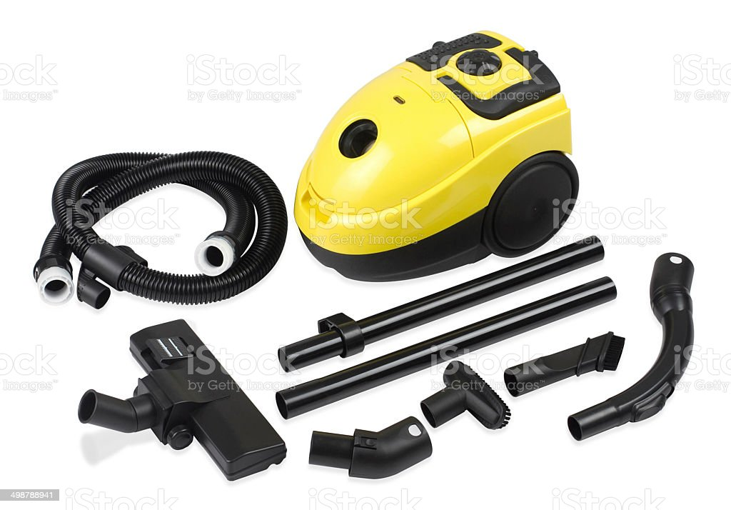 Vacuum dust cleaner and accessory isolated stock photo