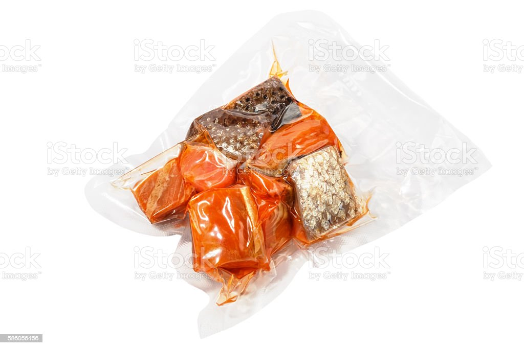 vacuum packed pieces of salmon stock photo
