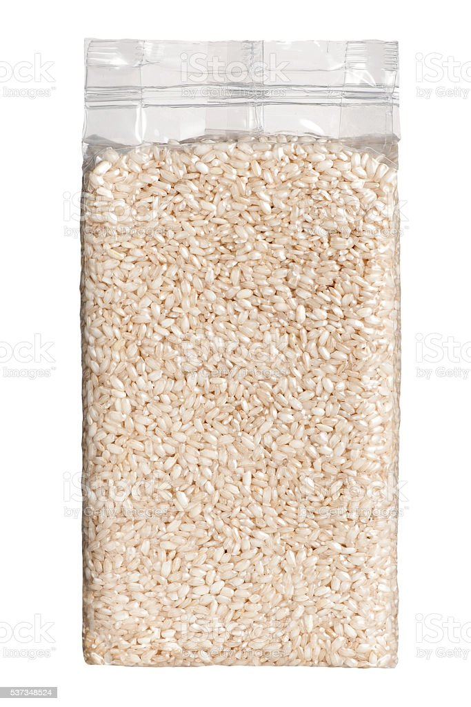 Vacuum packed plastic pack of long grain rice front view stock photo