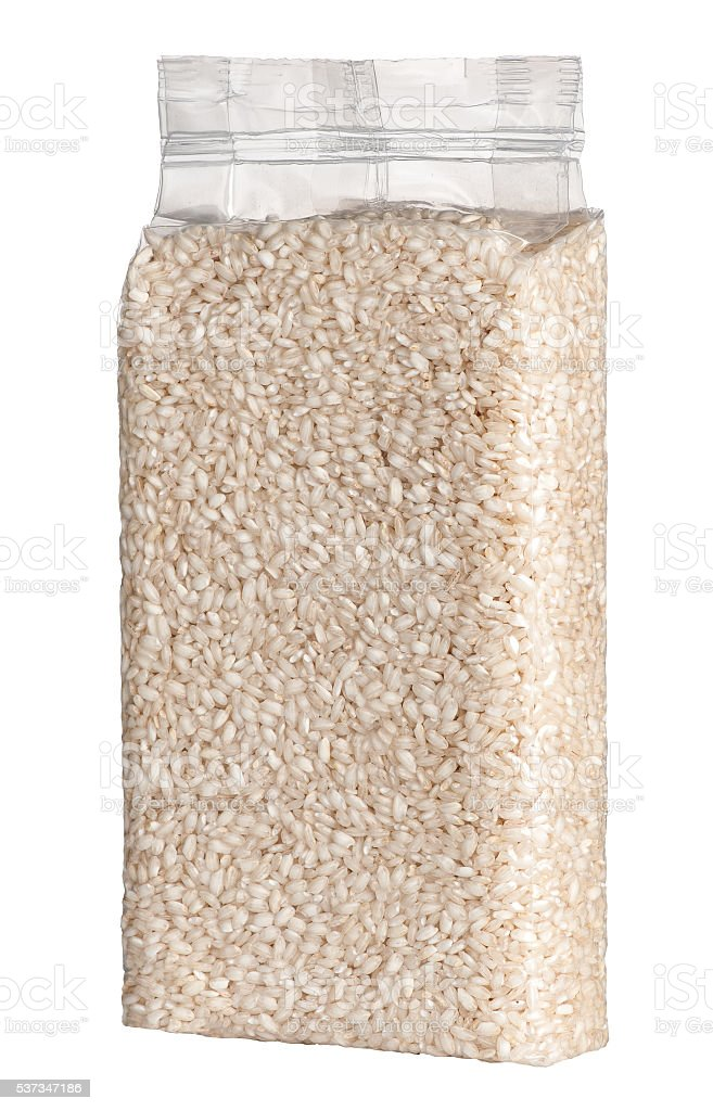 Vacuum packed plastic pack of long grain rice stock photo
