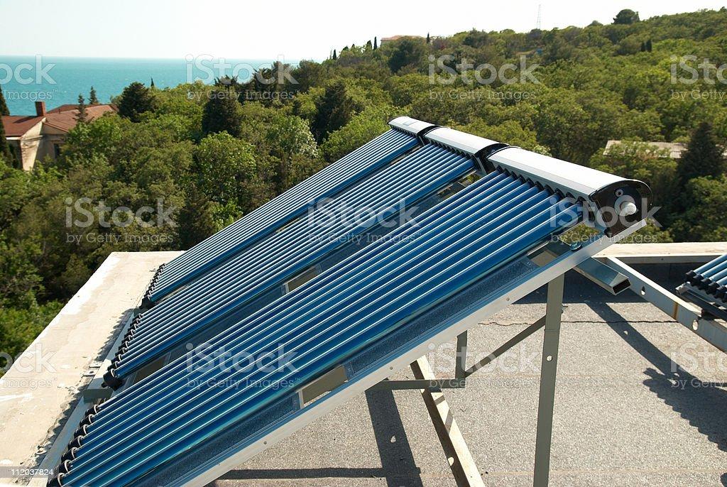 Vacuum solar water heating system stock photo