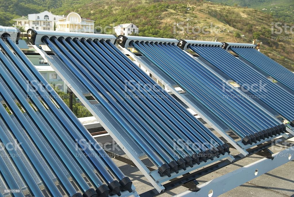 Vacuum solar water heating system stock photo