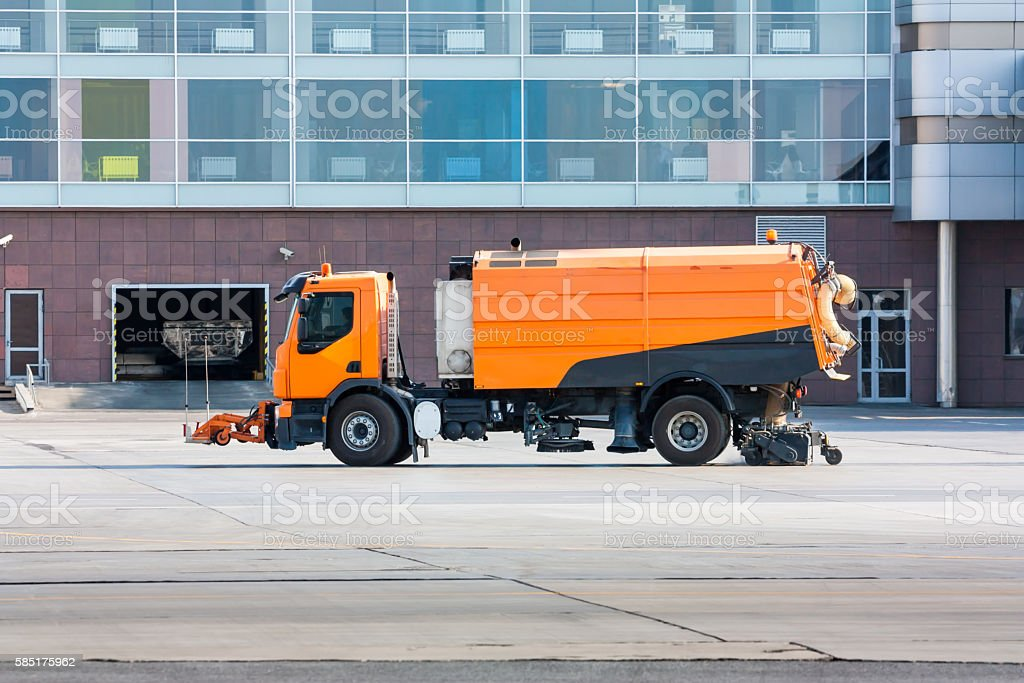 Vacuum sweeper near the airport terminal royalty-free stock photo