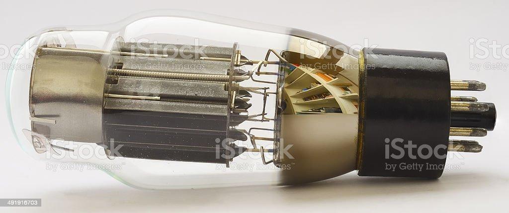 Vacuum Tube 6AS7G (equivalent 6080) on white background stock photo