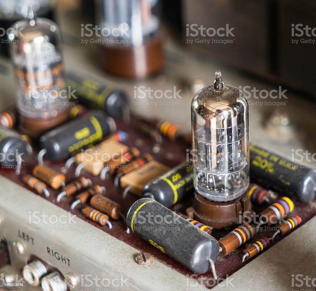 Vacuum Tube Amplifier closed up stock photo