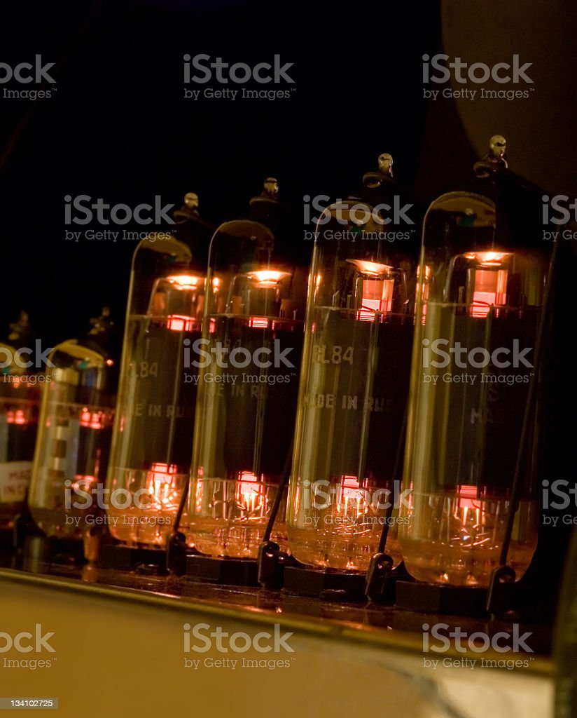 Vacuum tubes glowing stock photo