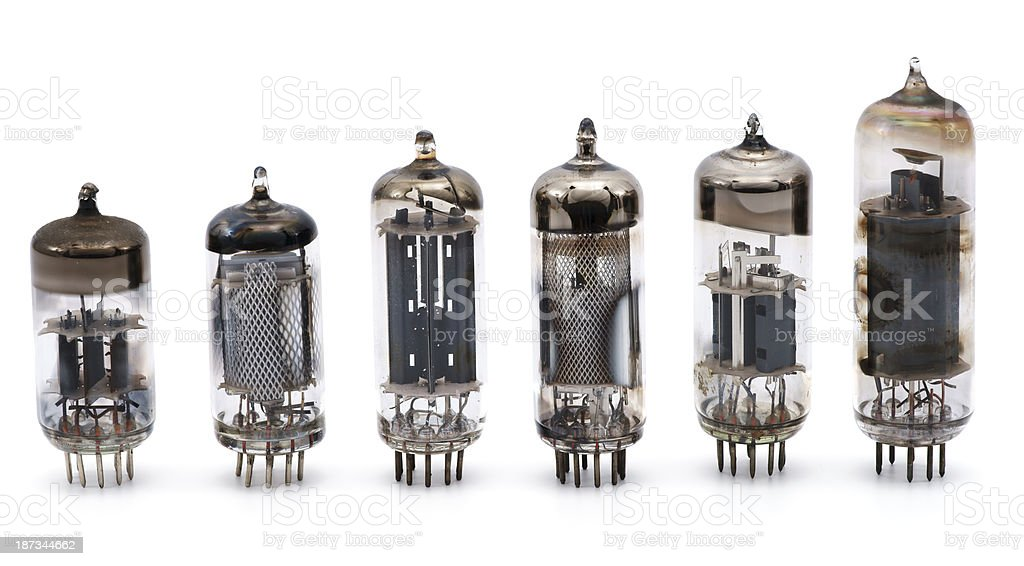 Vacuum tubes in a row isolated on white stock photo