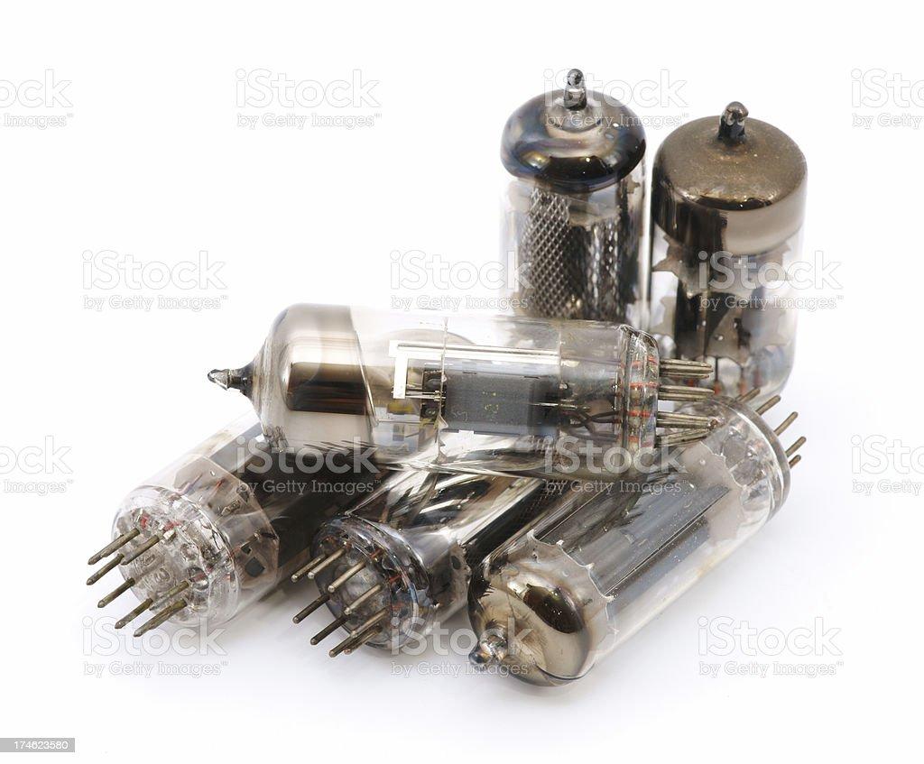Vacuum tubes isolated on white stock photo
