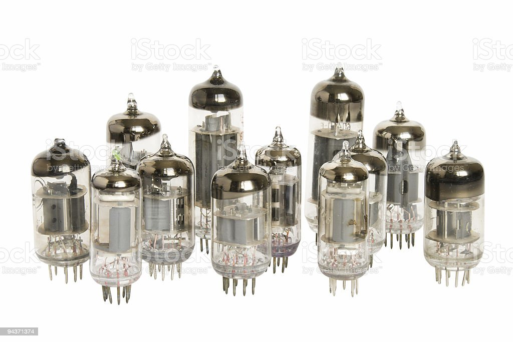 Vacuum tubes on white background stock photo