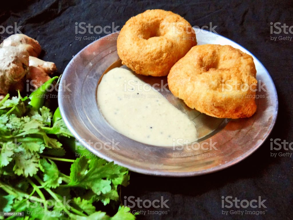 Vada & coconut chatni stock photo