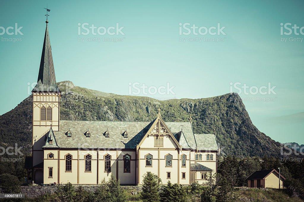 Vagan Church in Lofoten Islands, Norway stock photo