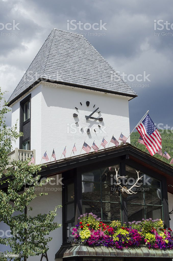 Vail Clock Tower in Summer stock photo