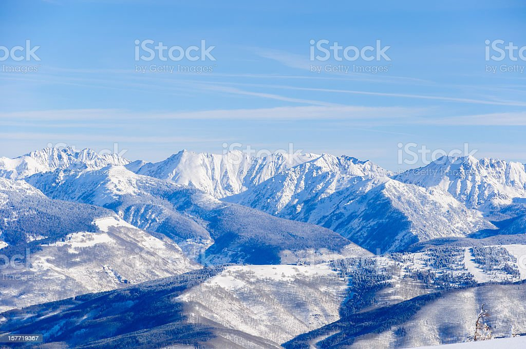 Vail Colorado Back Bowls and Gore Range Mountains Winter Landscape stock photo