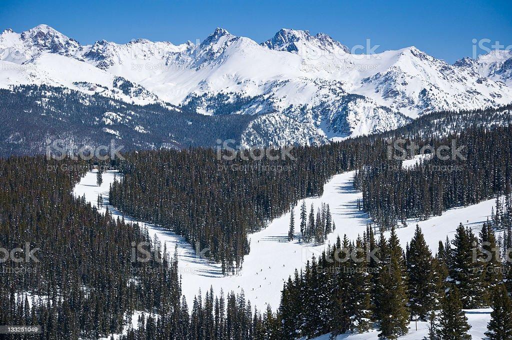 Vail Colorado Ski Runs and Gore Range Mountains stock photo