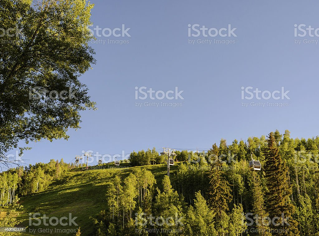 Vail Colorado Summer Gondola Going Up Mountain royalty-free stock photo