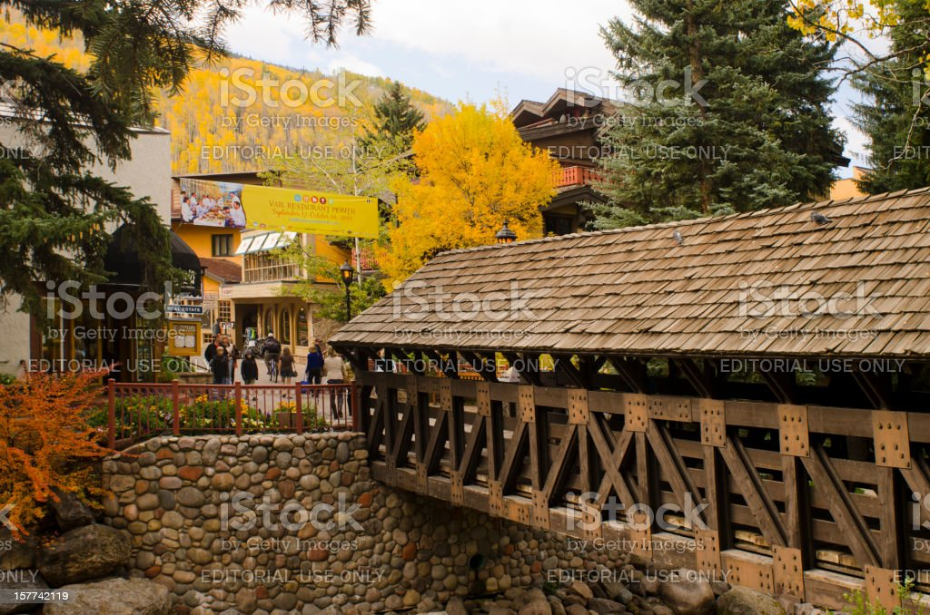Vail Covered Bridge in Autumn royalty-free stock photo