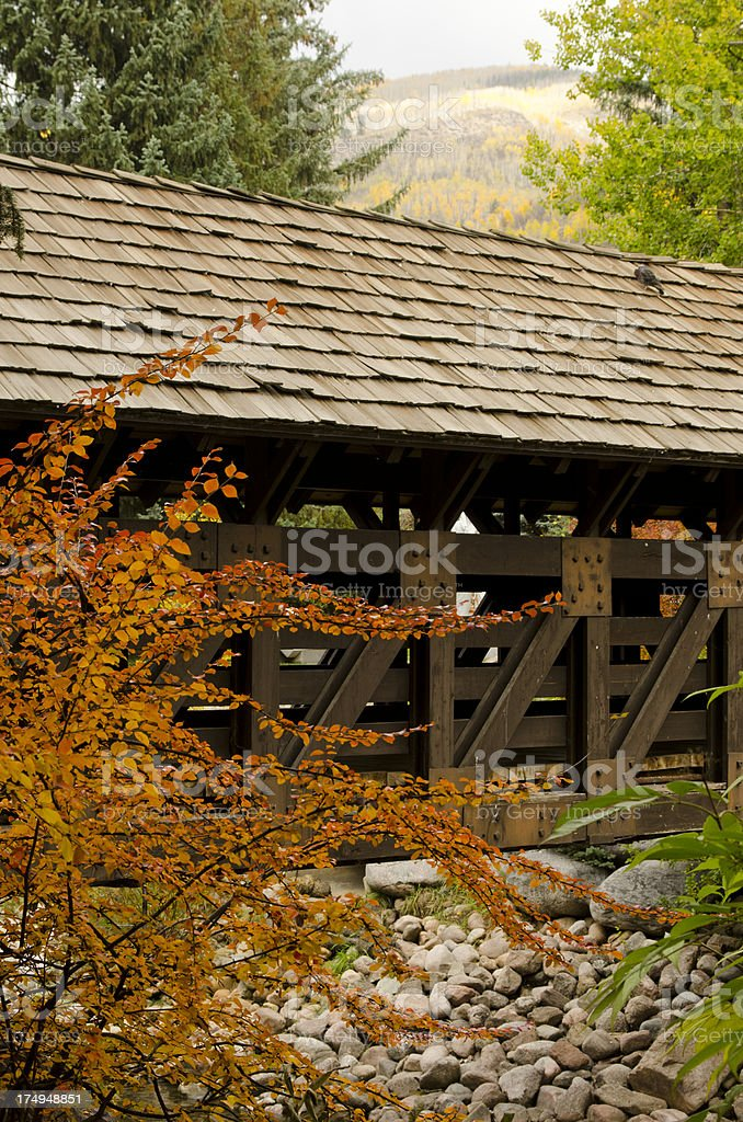 Vail Covered Bridge in Autumn stock photo