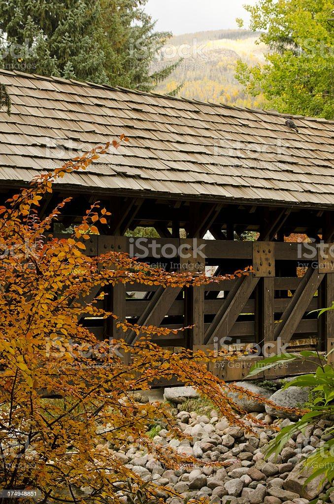 Vail Covered Bridge in Autumn stock photo
