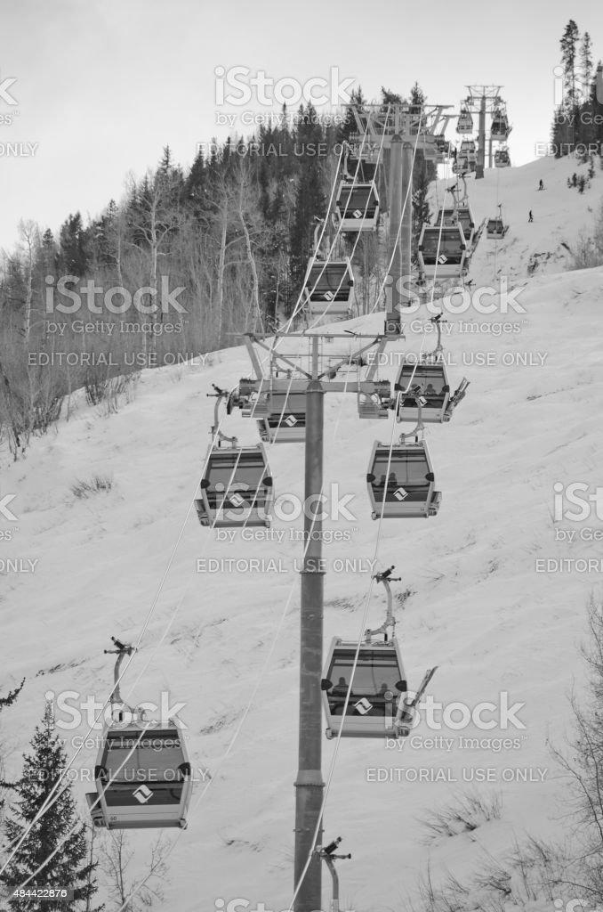 Vail Gondola with Skiers stock photo