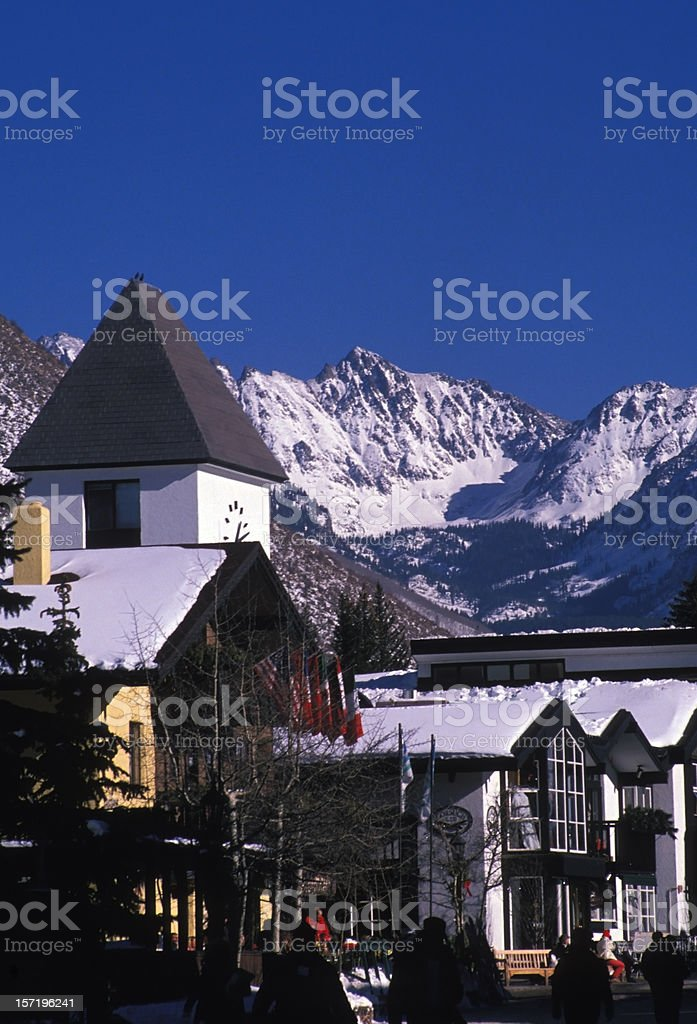 Vail Village and Gore Mountain Range in Winter stock photo