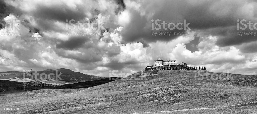 Val d'Elsa cloudscape. BW image stock photo
