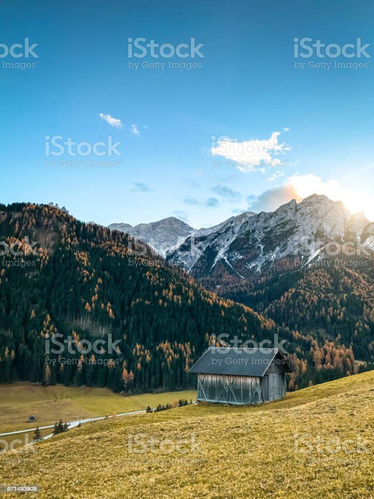 val di funes landscape stock photo