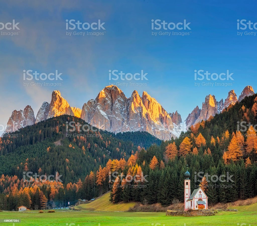 Val di Funes, San Giovanni Church & Dolomites, Italy stock photo