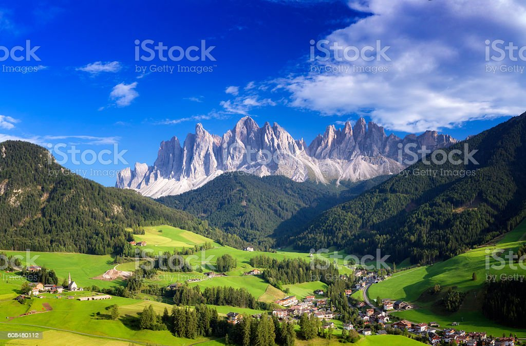 Val di Funes, San Giovanni Church Panorama - Villnöss, southtirol stock photo