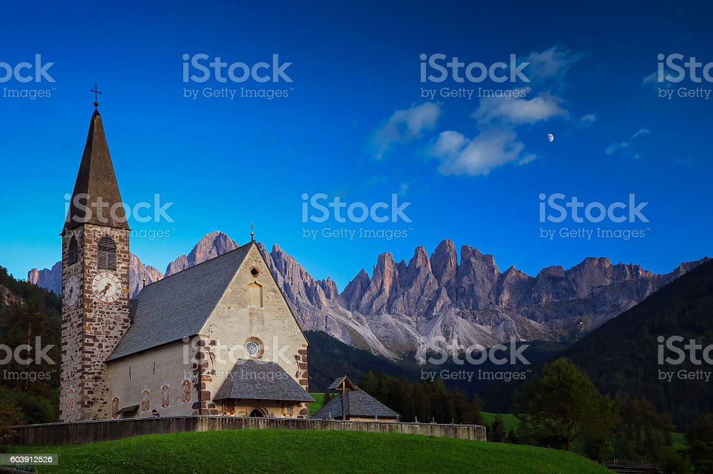 Val di Funes, St. Magdalena & Dolomites, Geisler group, Italy stock photo