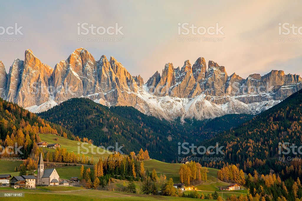 Val di Funes, St. Magdalena & Dolomites, Italy stock photo