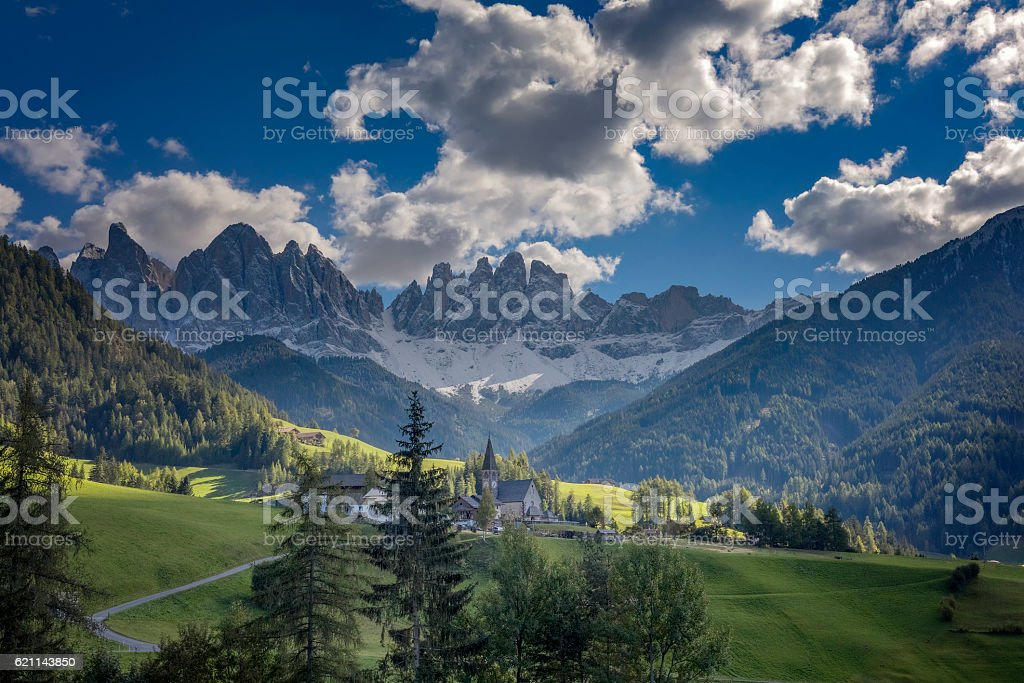 Val di Funes, St. Magdalena & Dolomites, Italy stock photo