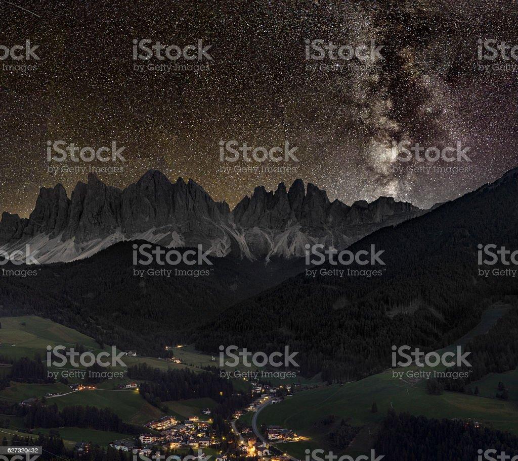 Val di Funes, Villnöss with geisler group under Milky Way stock photo