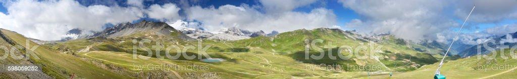 Val d'Isere Bike Park panorama stock photo