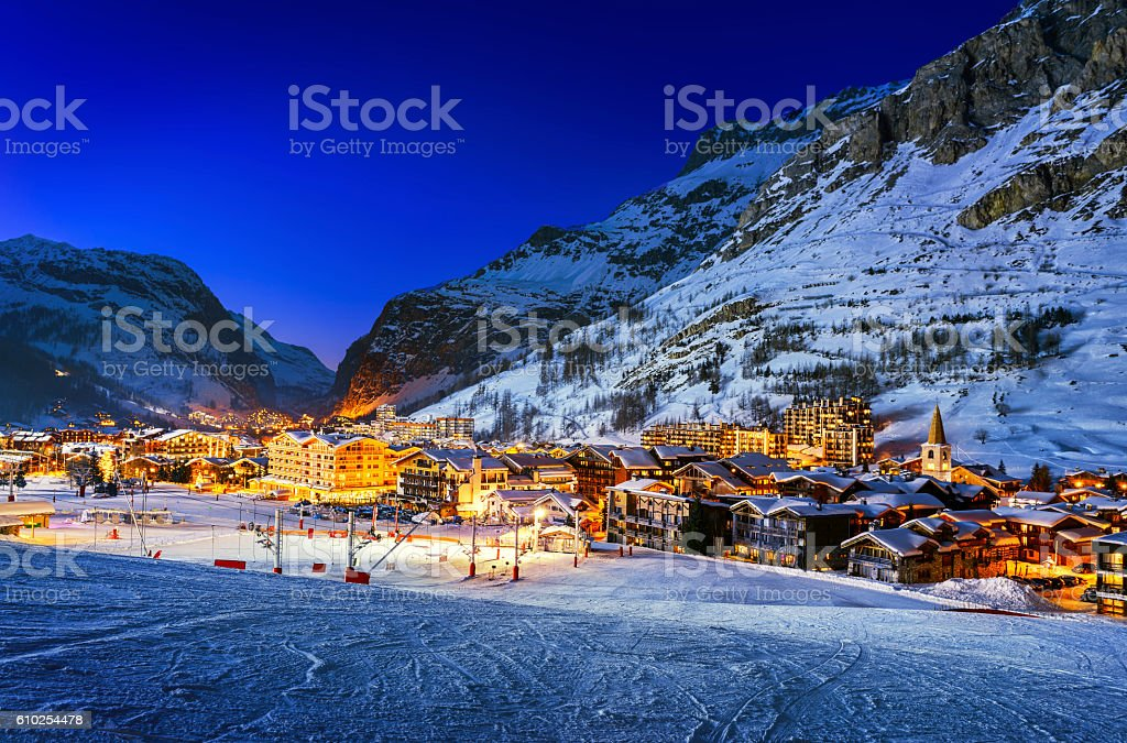 Val d'Isère city stock photo