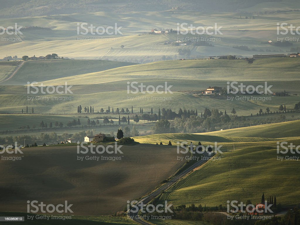 Val d'orchia landscape near Pienza in the early morning royalty-free stock photo