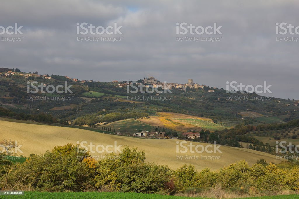 Val d'Orcia in the autumn season stock photo